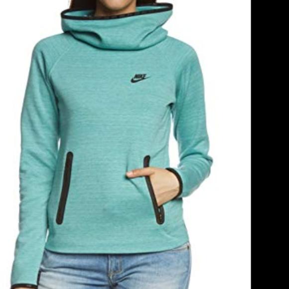 Nike Women's Tech Fleece Funnel HoodieTealLarge